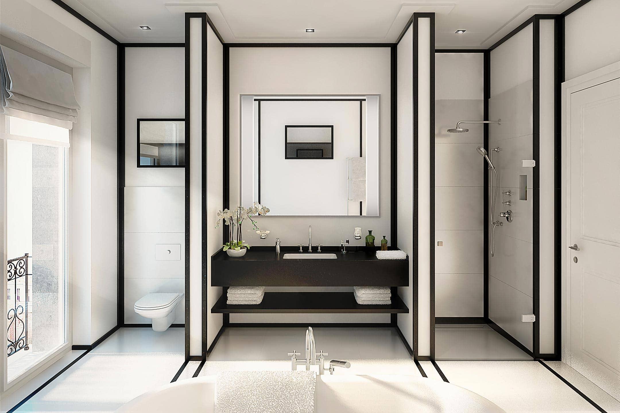 Badezimmer Eisenzahn in schwarz weiß