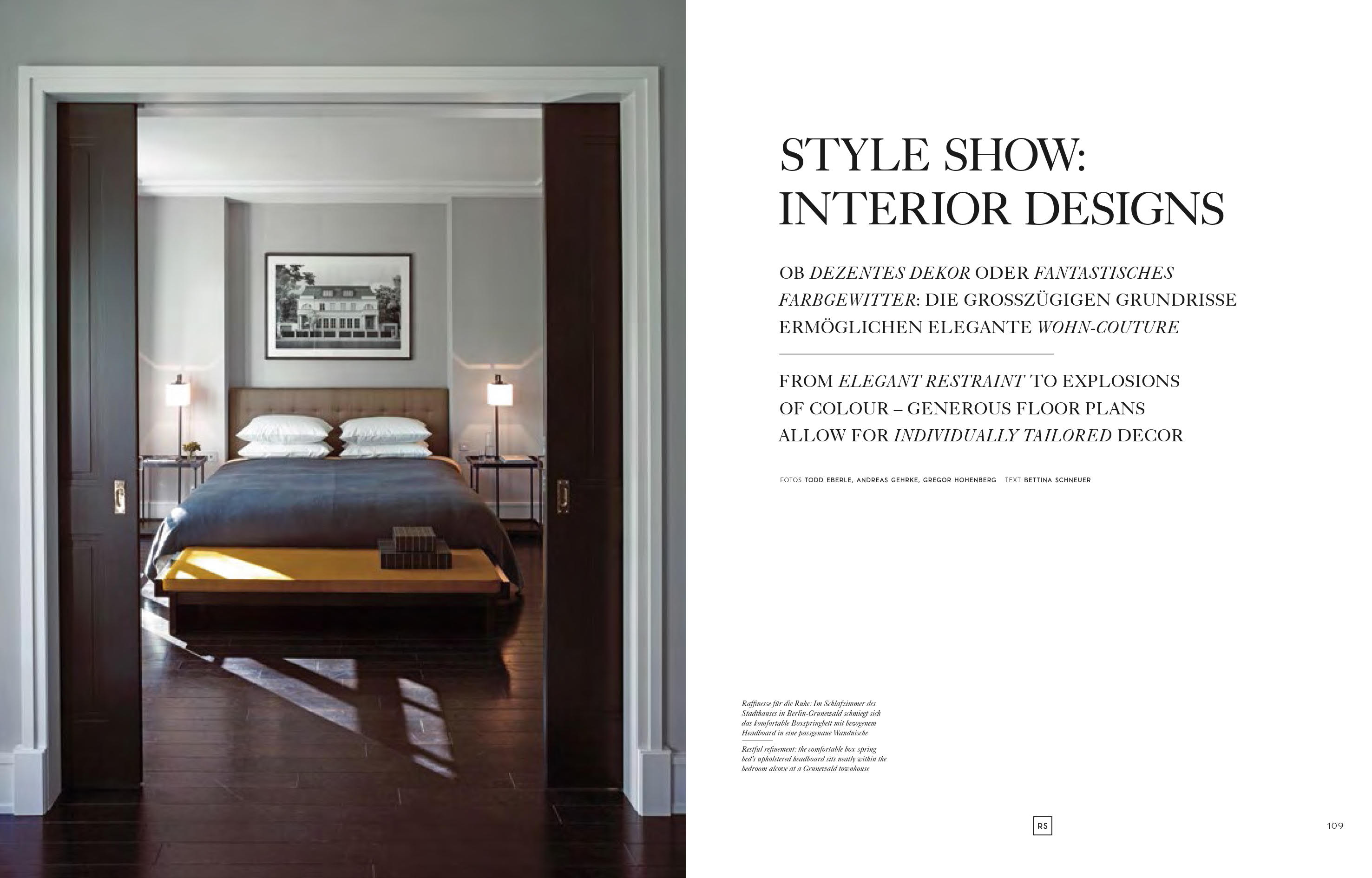 """Doppelseite des Buchs """"Exceptional Homes - The Classic Style of RALF SCHMITZ"""""""