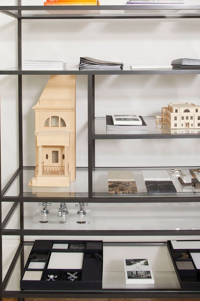 Shelf with material samples in the Berlin office