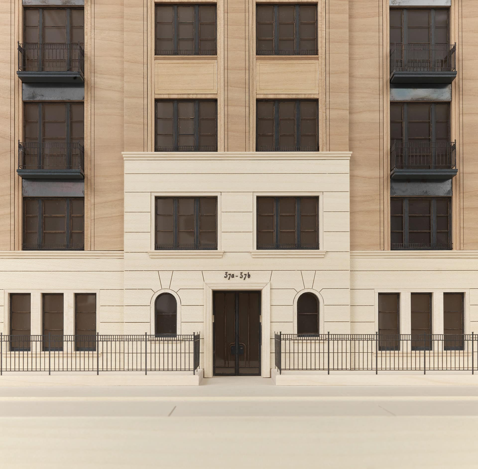 Windows, parapets and railings of the model are manufactured in blackened bronze