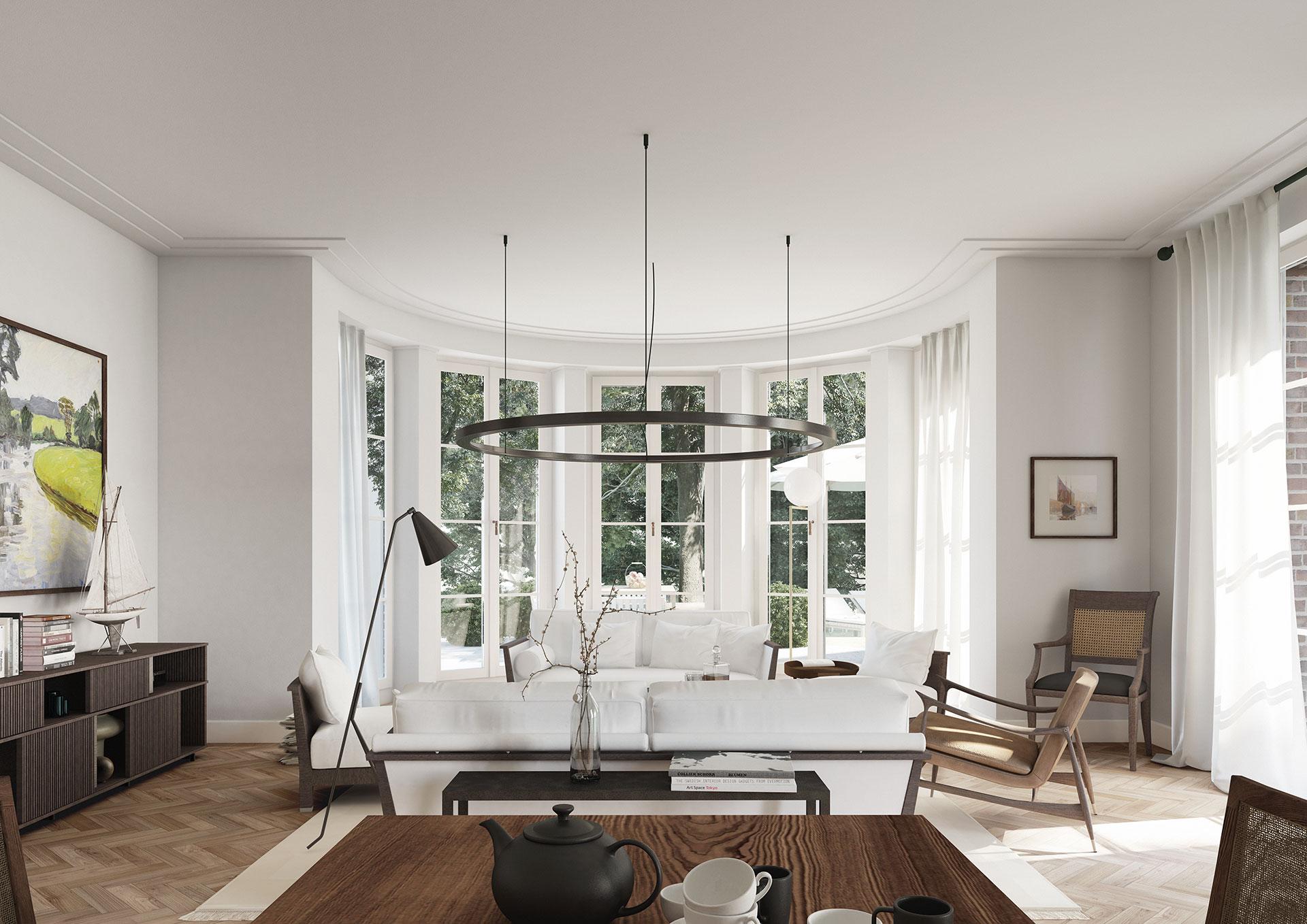 Interior Wohn- und Esszimmer mit Fischgrätparkett und bodentiefen Fenstern