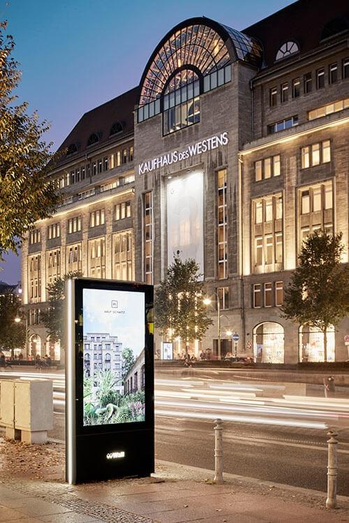 Digital billboard in front of the Berlin KaDeWe